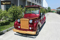 Red Color Custom Aluminum Chassis Classic Golf Cart Shuttle Bus With Roof
