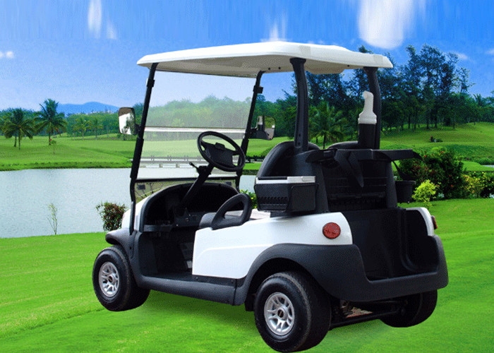 Small Electric 2 Seater Golf Cart , White Battery Operated Golf Buggies 48V