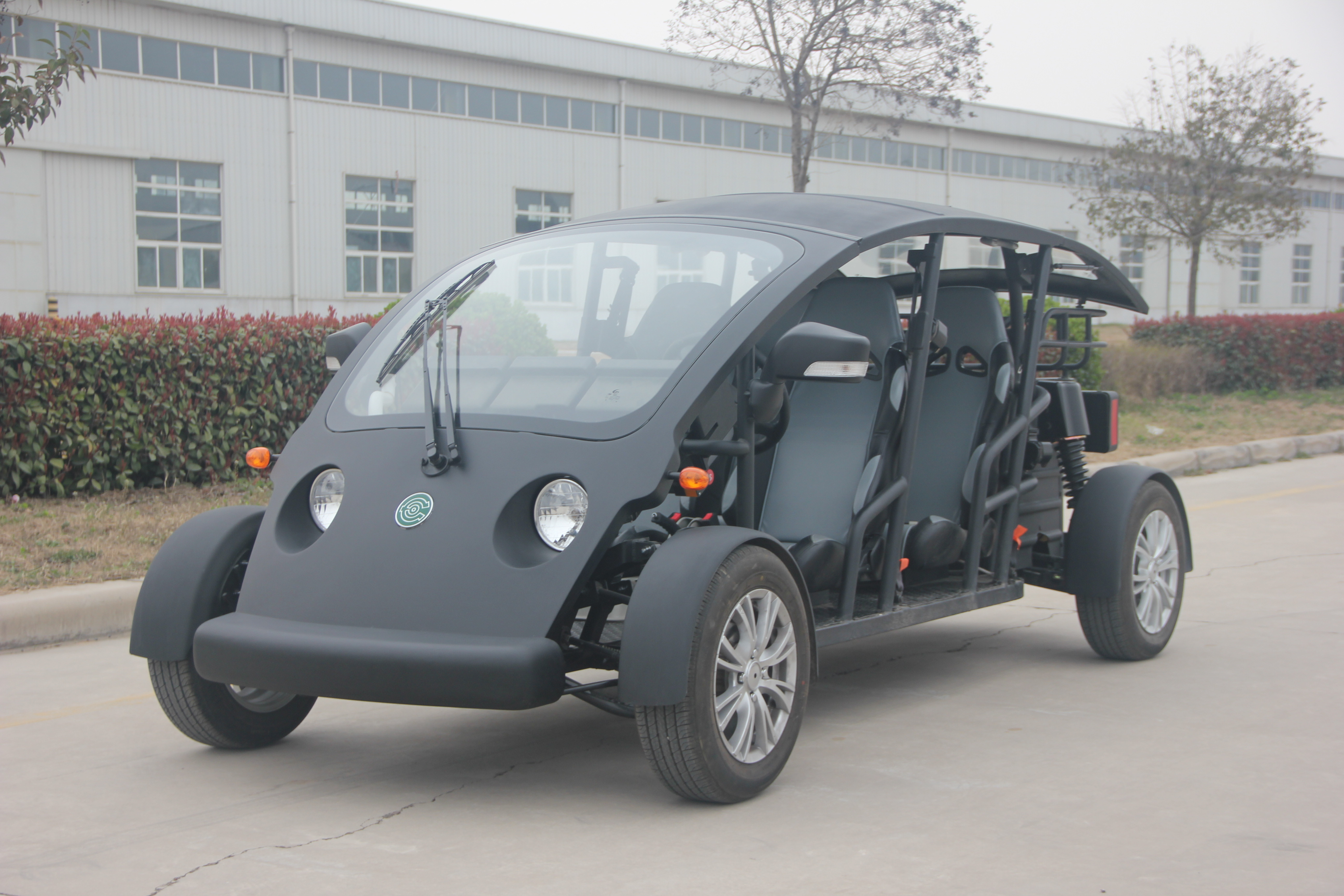 Black 4 Person Custom Electric Golf Cart Utility Vehicle 40KM/H Max Speed