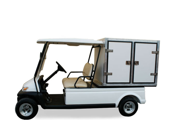 Two Person Street Car Golf Cart , Motorized Utility Cart With Manual Lifted Box
